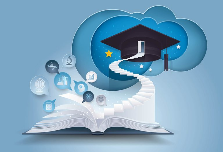 Open book with stair to graduation cap, The door with graduation Hat on top of Staircase, Bubble talk with Education icon, diploma, success, study, Evolution, College, Learning, University Education concepts, Paper art vector and illustration.